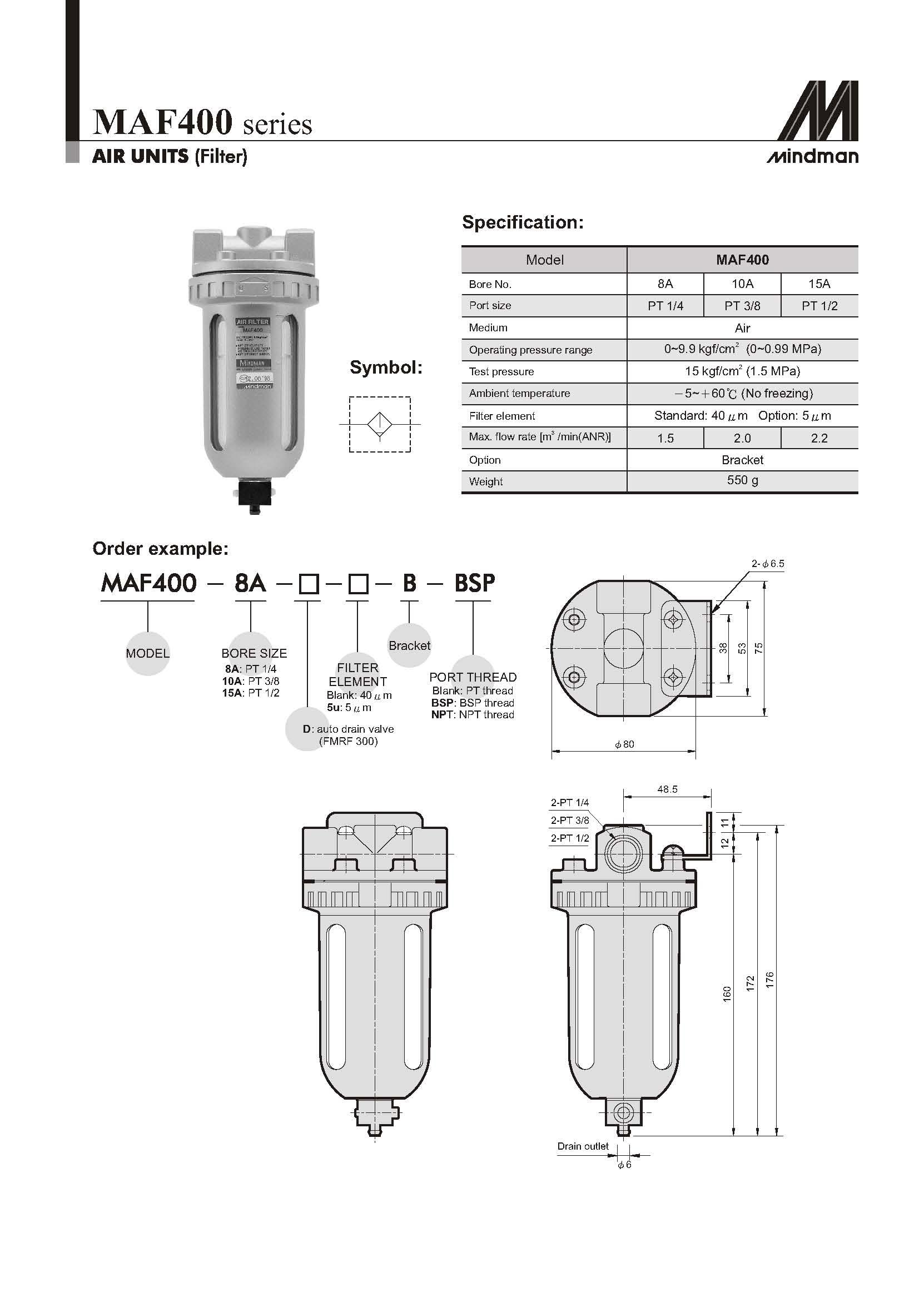 Mindman Filter Maf400 10a Npt 3 8 Npt