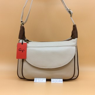 Gigi Leather Bag - 22-17G. Ivory/Mid.Brown