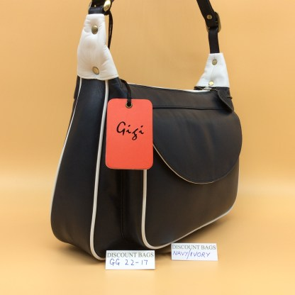 Gigi Leather Bag - 22-17G - Navy/Ivory