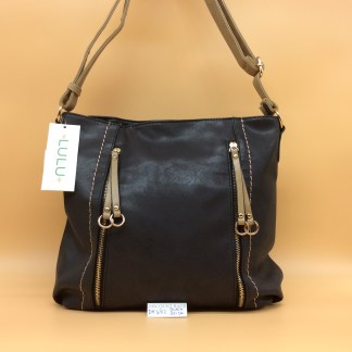 Lulu Fashion Bag. DK 482C. Black with Beige trim