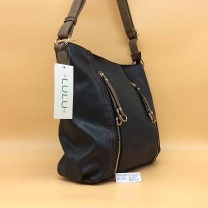 Lulu Fashion Bag. DK 482C. Black with Brown trim