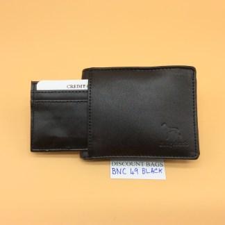 RFID Leather Wallet - NC 49. Black Stitching
