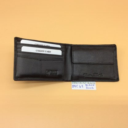 RFID Leather Wallet - NC 49. Blue Stitching