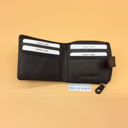 RFID Leather Wallet - NC43MN. Black