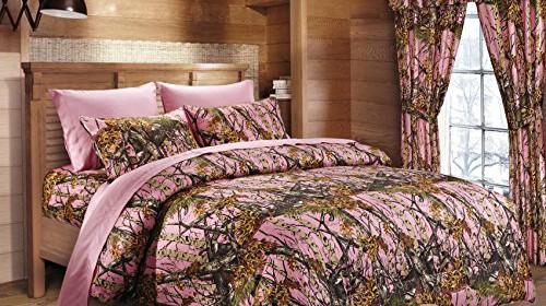 Lakes Woodland Hunter Camo Comforter Sheet & Pillowcase Set Queen Pink Bedding