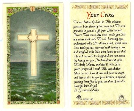 Your Cross Laminated Prayer Card