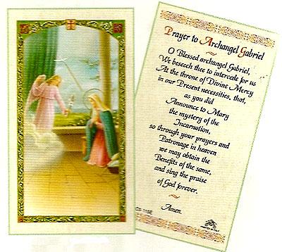 Archangel Gabriel Laminated Prayer Card