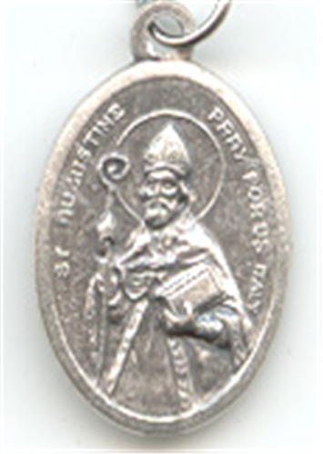 St Augustine Inexpensive Oxidized Medal