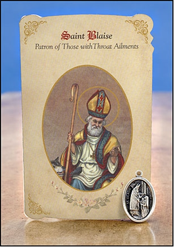 St Blaise Throat Ailments Healing Holy Card With Medal
