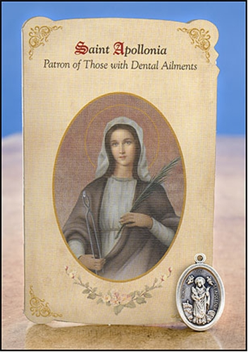 St Apollonia Dental Ailments Healing Holy Card With Medal
