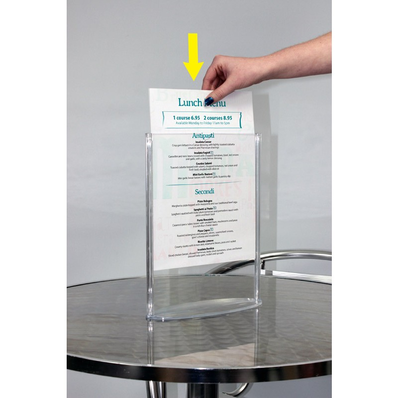 Oval Menu Holder  Table Top Double Sided Menu Holder