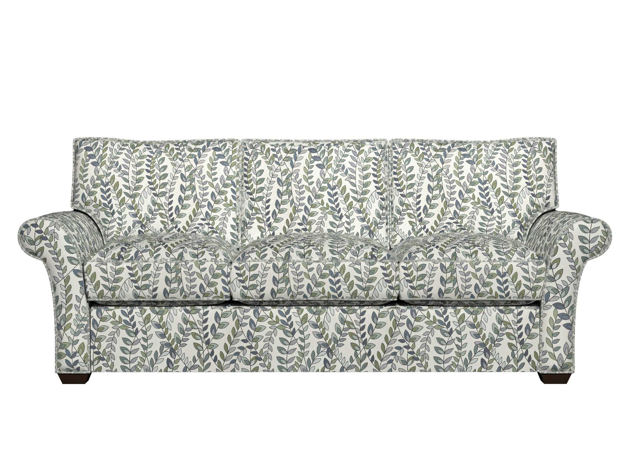blue and white sofa fabric baron green off vines leaves upholstery
