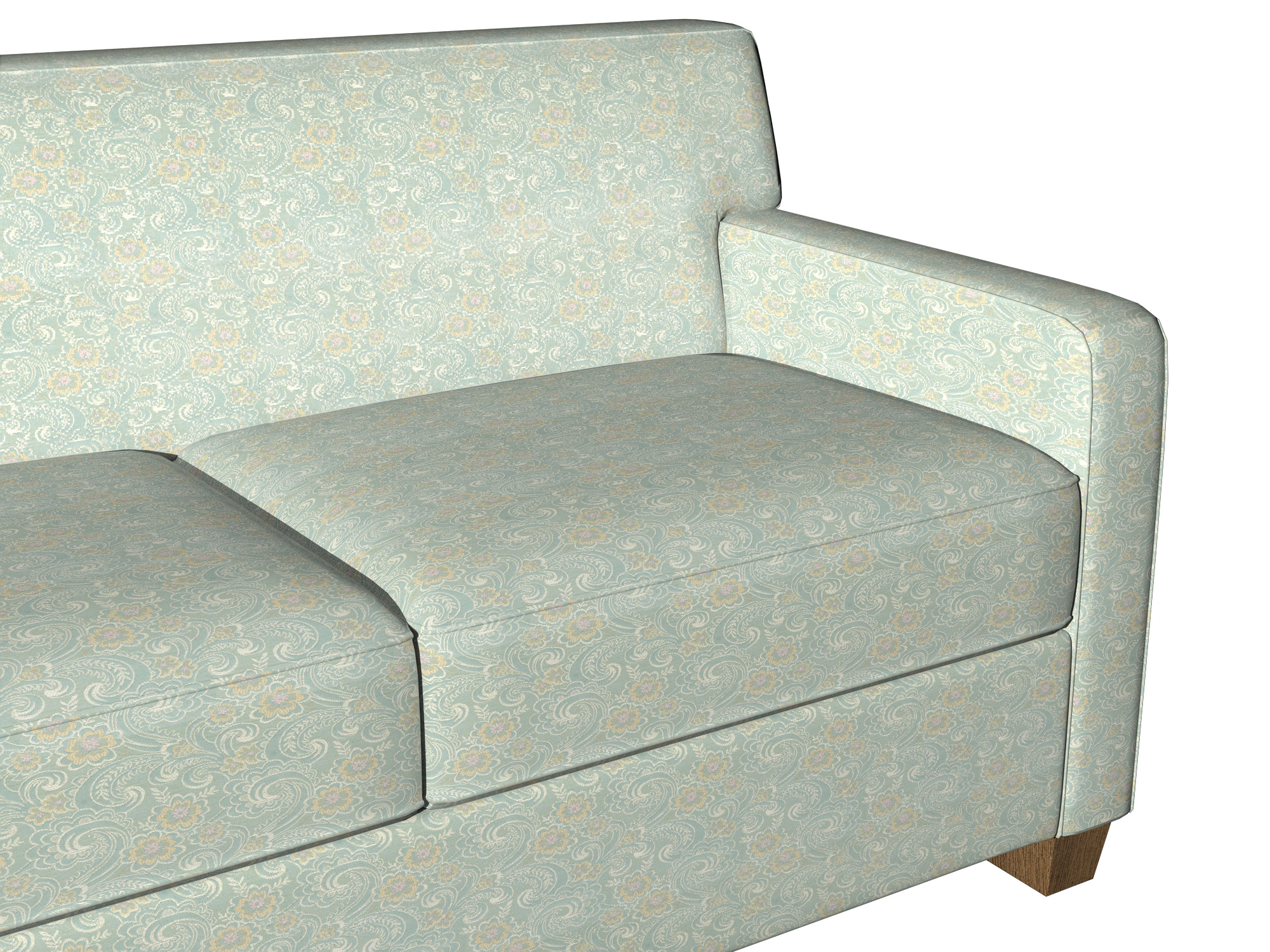 brocade sofa fabric distressed leather bed uk gold pink and blue paisley floral upholstery