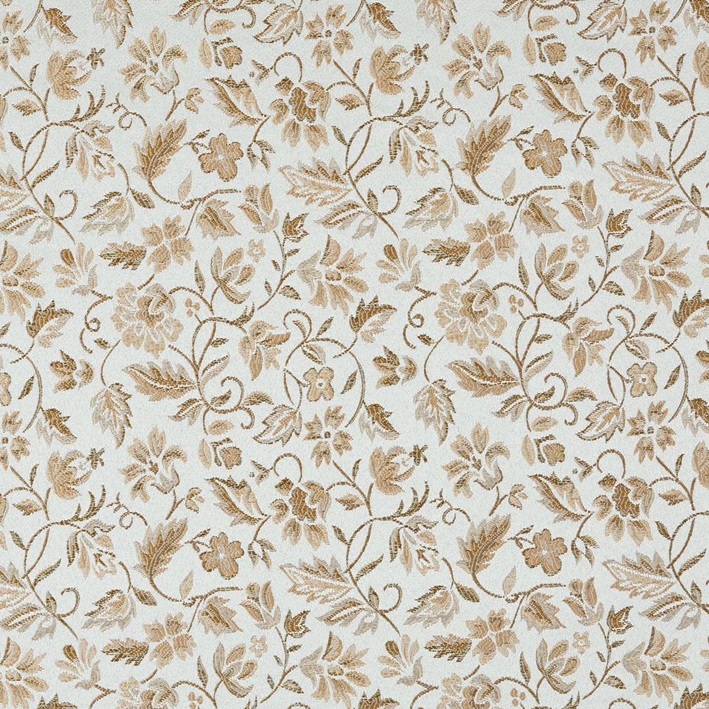 Floral Light Blue And Gold Damask Upholstery Fabric By The