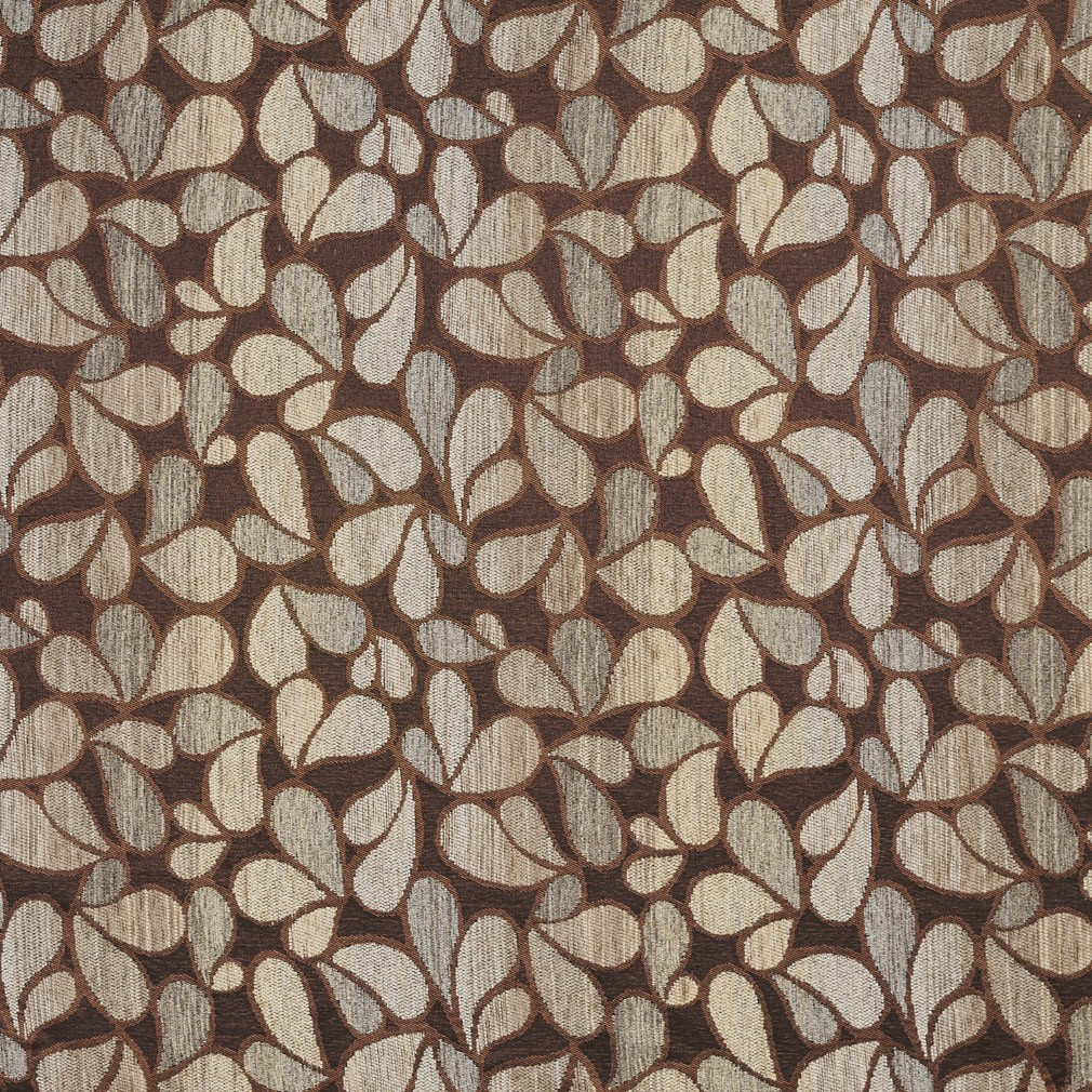Brown And Grey Abstract Chenille Upholstery Fabric By The
