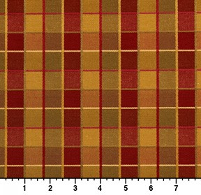 Red Gold And Green Checkered Silk Look Upholstery Fabric