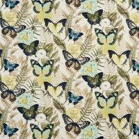B0470B Yellow And Blue Large Butterflies Print Upholstery