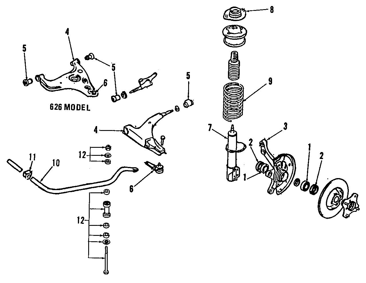 1992 Mazda MX-6 Wheel Hub. SUSPENSION, Right, Left