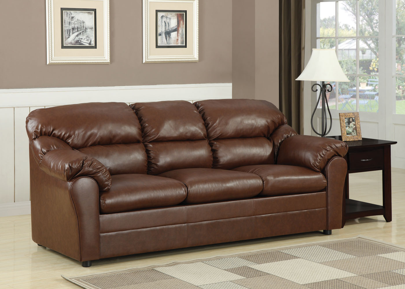 Acme Connell Bonded Leather Match Sofa Sleeper In Brown 15153