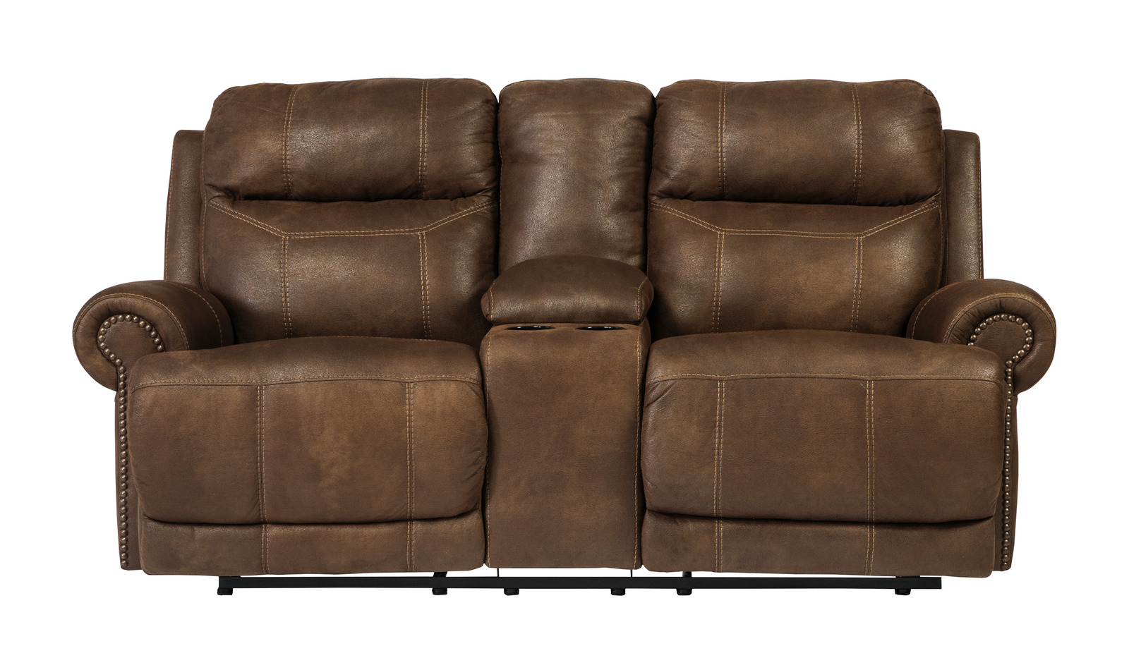 Austere Double Reclining Loveseat W Console In Brown