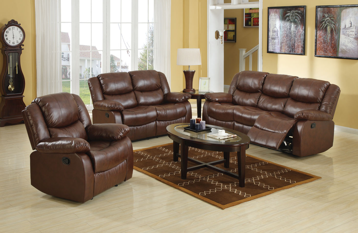 Acme Fullerton Bonded Leather Match Motion Living Room Set