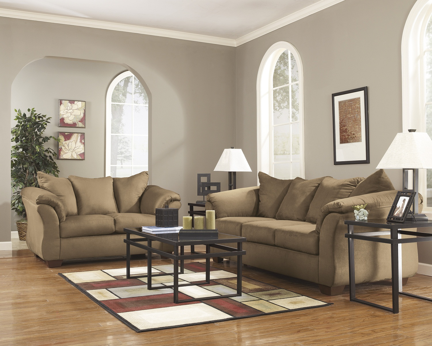 ashley red leather sofa corner uk cheap 4-piece darcy living room set in mocha