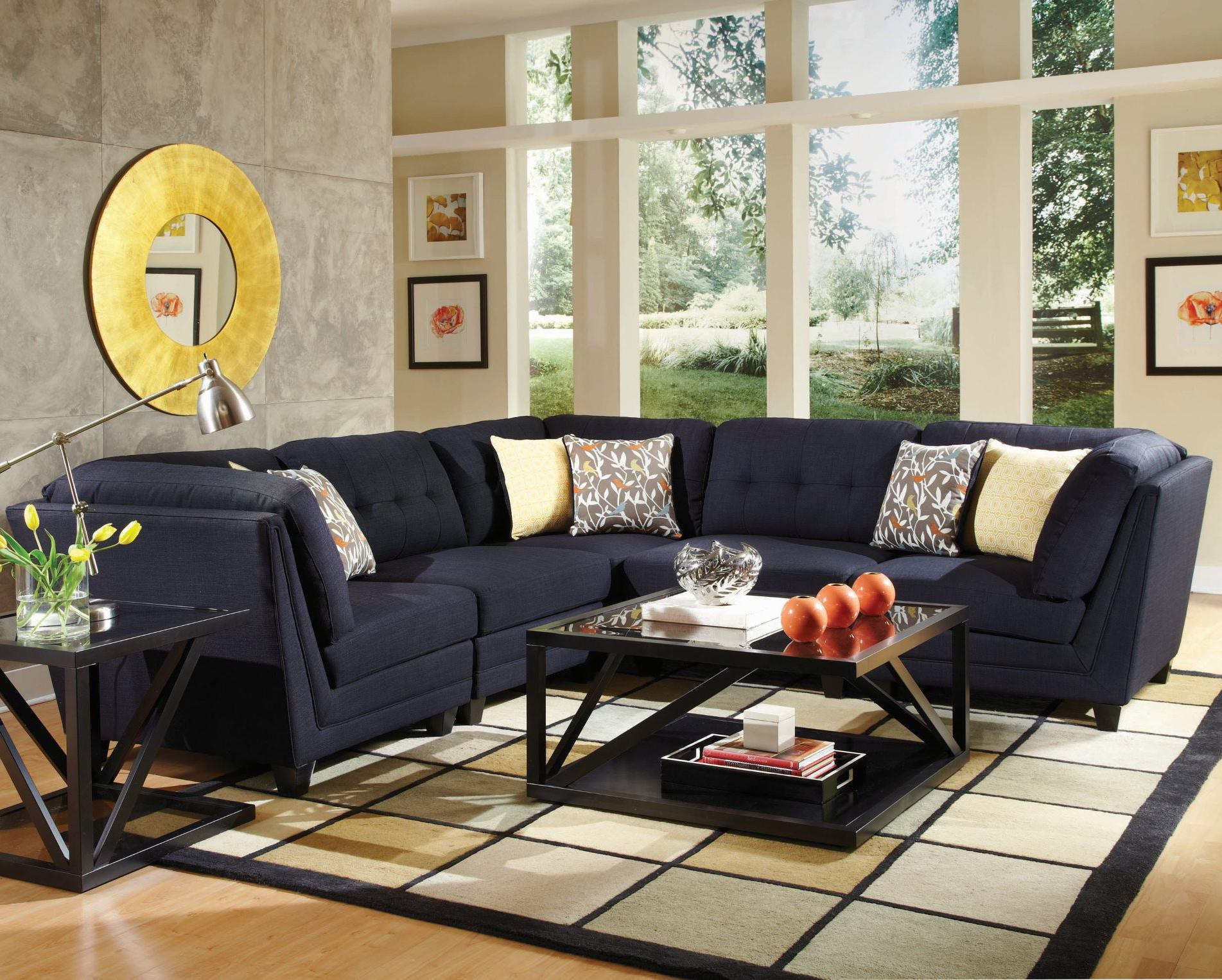 Coaster Keaton 5pc Sectional Living Room Set in Midnight Blue
