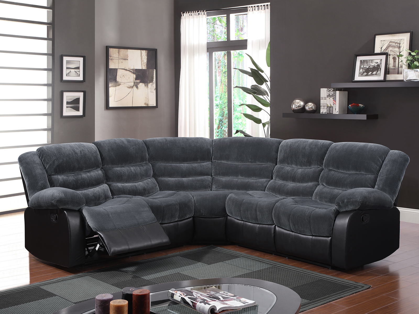 liberty 2 piece sofa and motion loveseat group in grey 3 seat length global furniture u93935 sectional champion
