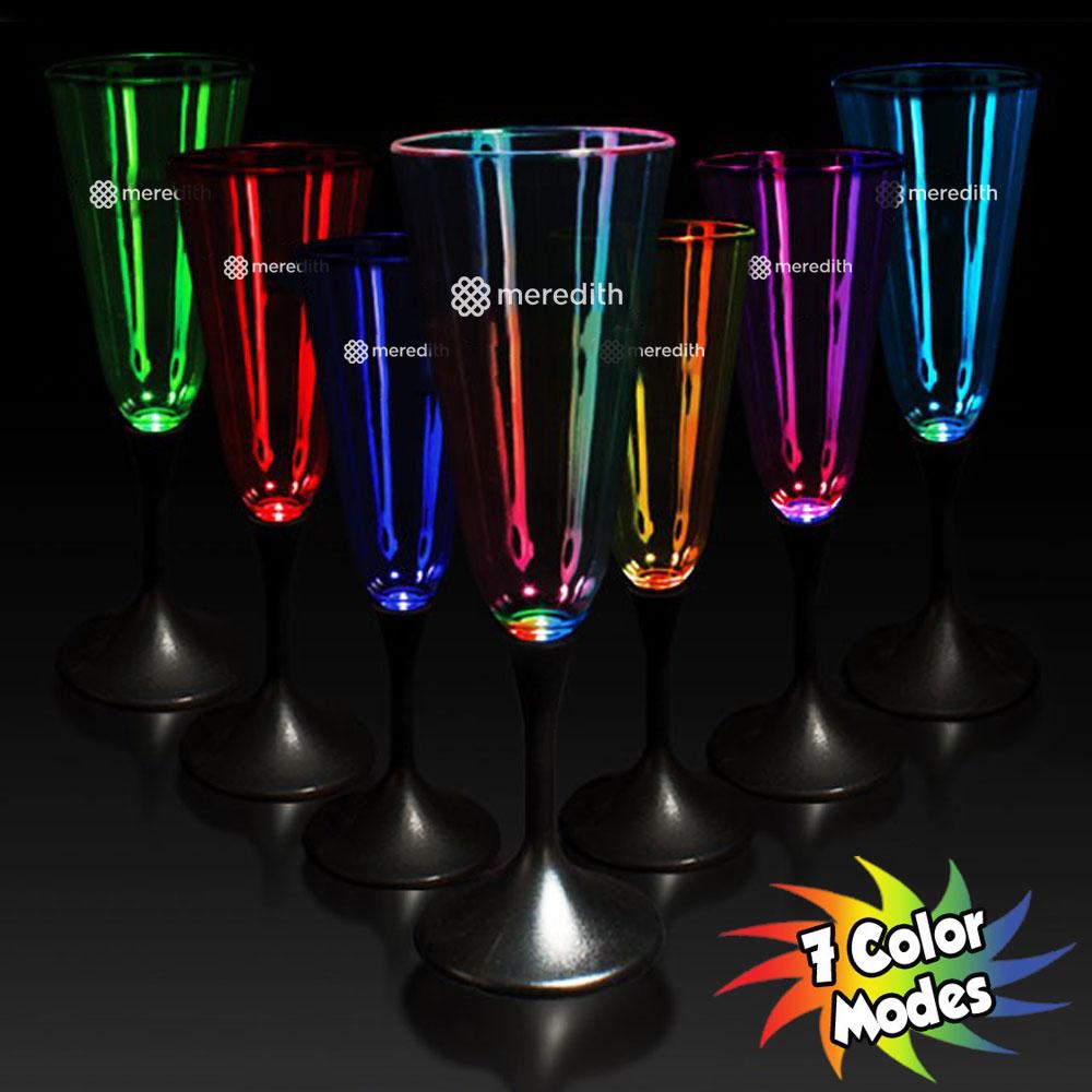 Personalized 75 oz Light Up Plastic Champagne Flutes  WCLIT914  DiscountMugs