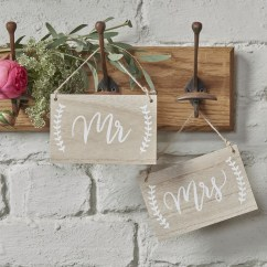 Mr And Mrs Chair Signs Ivory Leather Dining Chairs Boho Wooden Sign