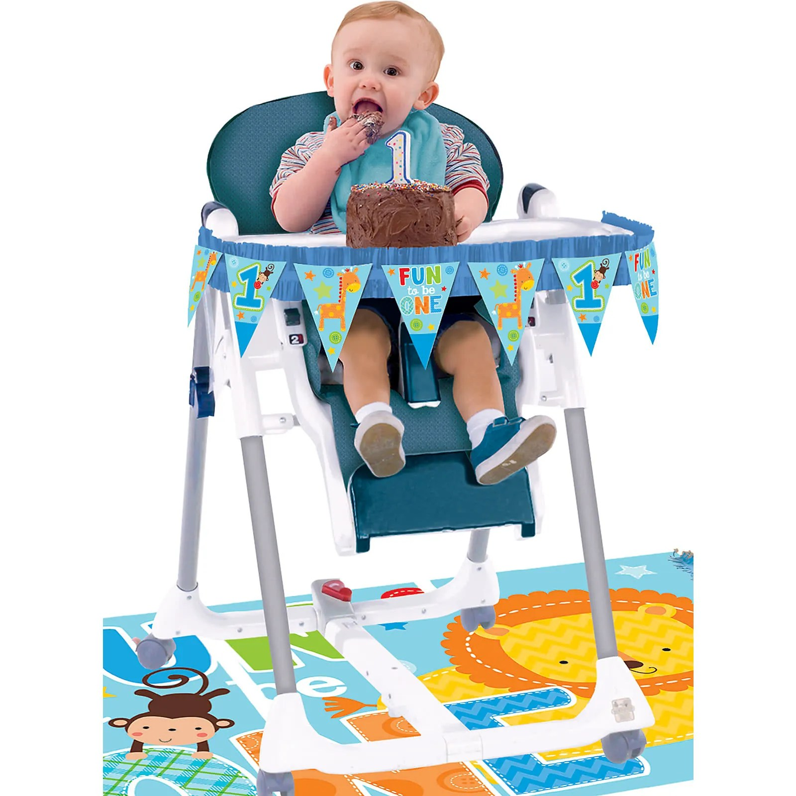 high chair for boy covers boys 1st first birthday blue decoration kit one