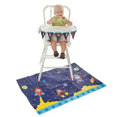 High Chair For Boy White Wood Folding Chairs Bulk Boys 1st First Birthday Rocket Space 2pce