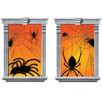 HALLOWEEN SPIDER SCARY 2 LARGE PLASTIC WINDOW DECORATIONS ...