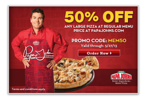 Papa Johns 50 off ANY Large Pizza  DiscountQueenscom
