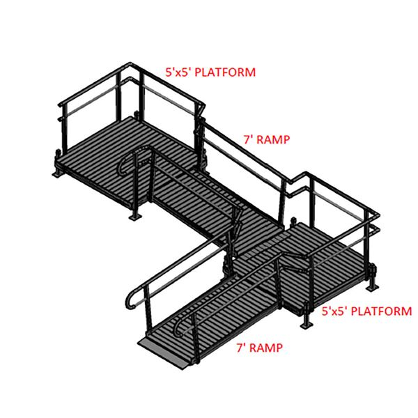 Silver Spring 14ft Side-Entry L-Shaped Modular Ramp with