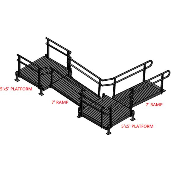 Silver Spring 14ft L-Shaped Modular Ramp with 5ft Top
