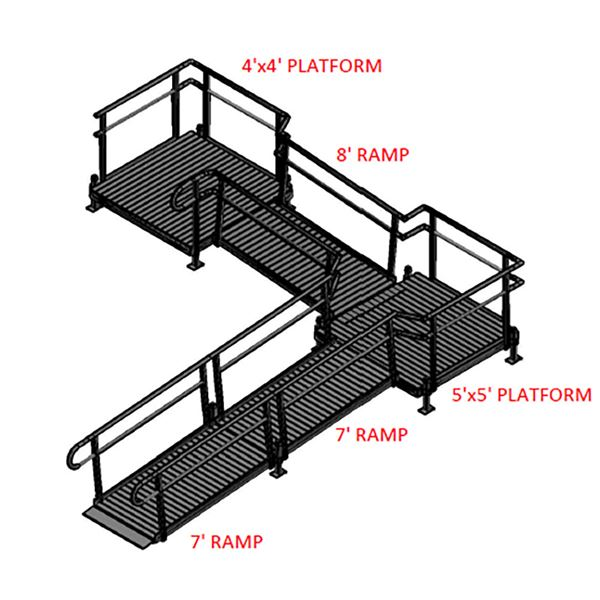 Silver Spring 22ft Side-Entry L-Shaped Modular Ramp with