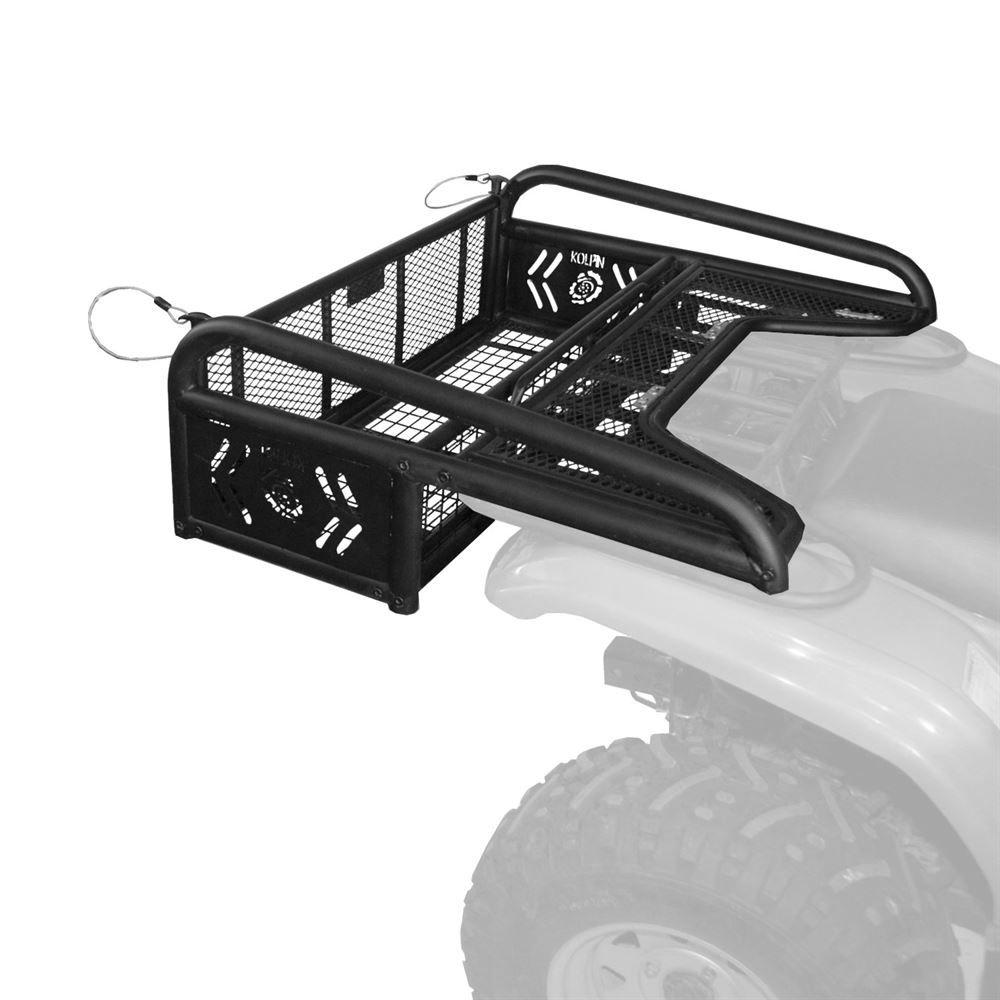 hight resolution of 53300 kolpin steel mesh atv rear rack drop basket with tailgate