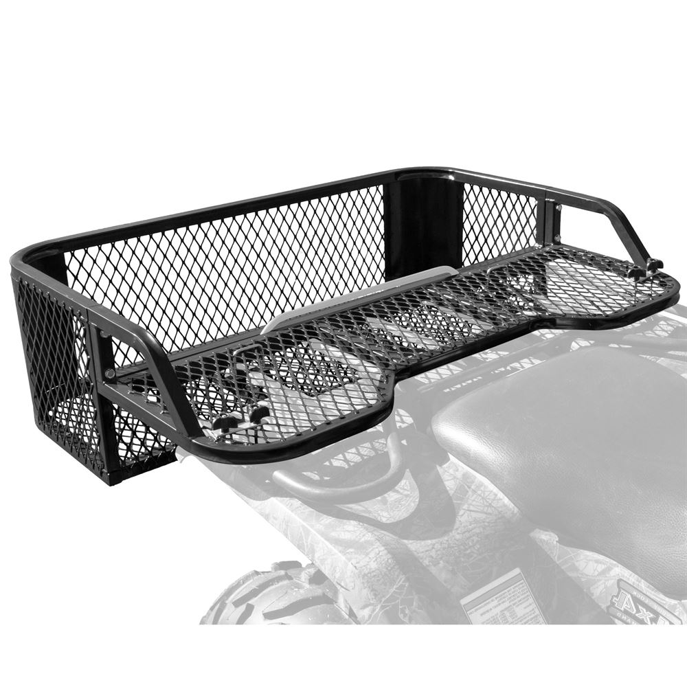 small resolution of atvdb 4315 black widow steel mesh atv rear rack drop basket