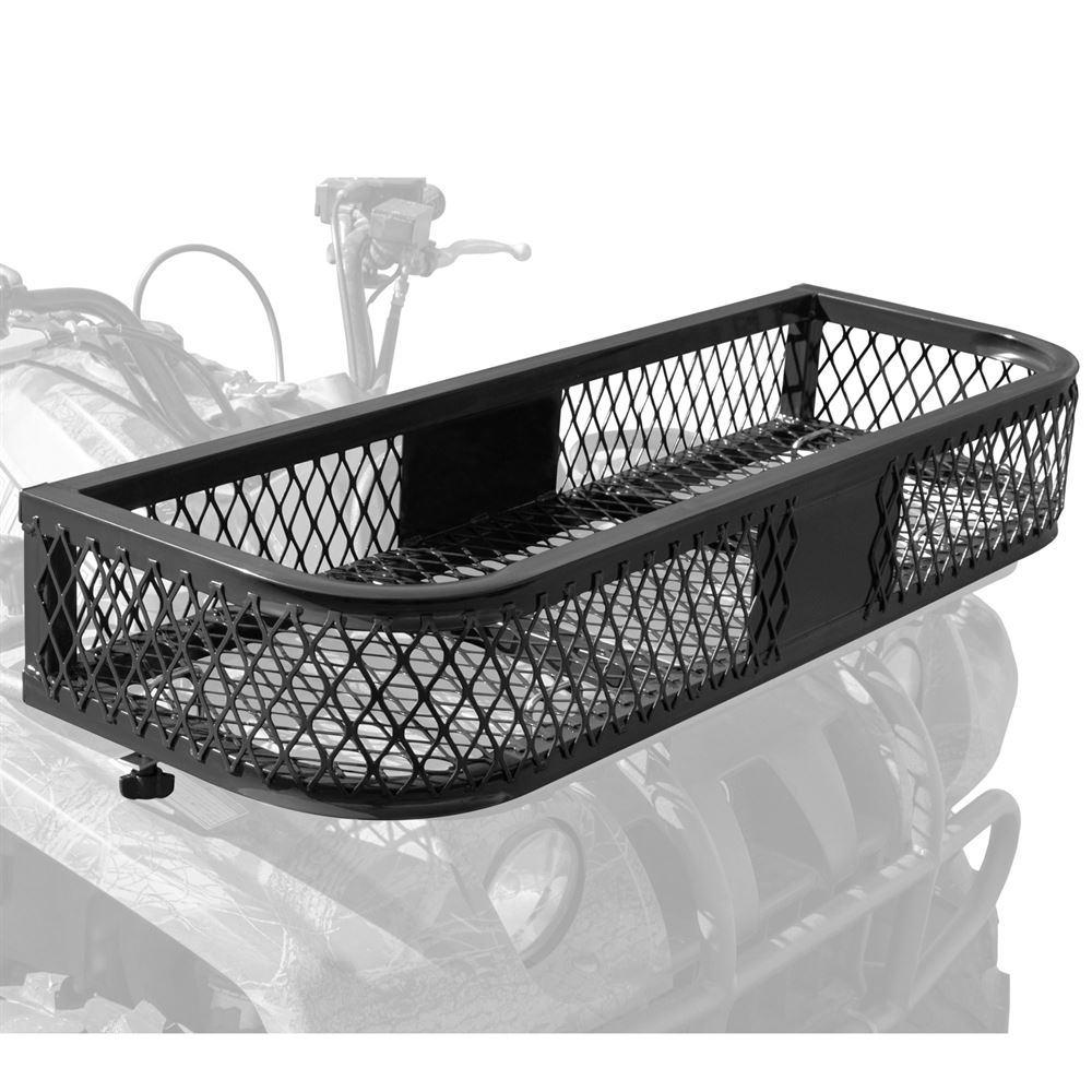 medium resolution of atvfb 3713 black widow steel mesh atv front rack basket