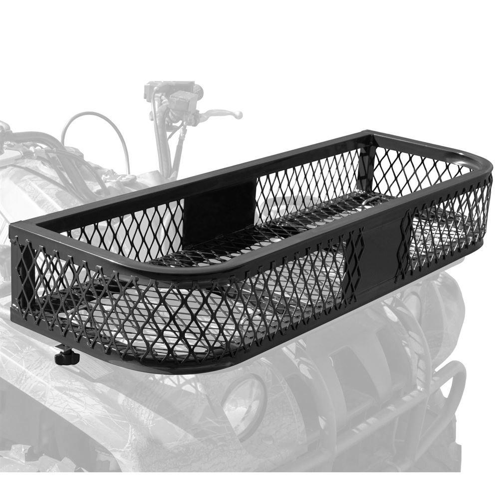 hight resolution of atvfb 3713 black widow steel mesh atv front rack basket