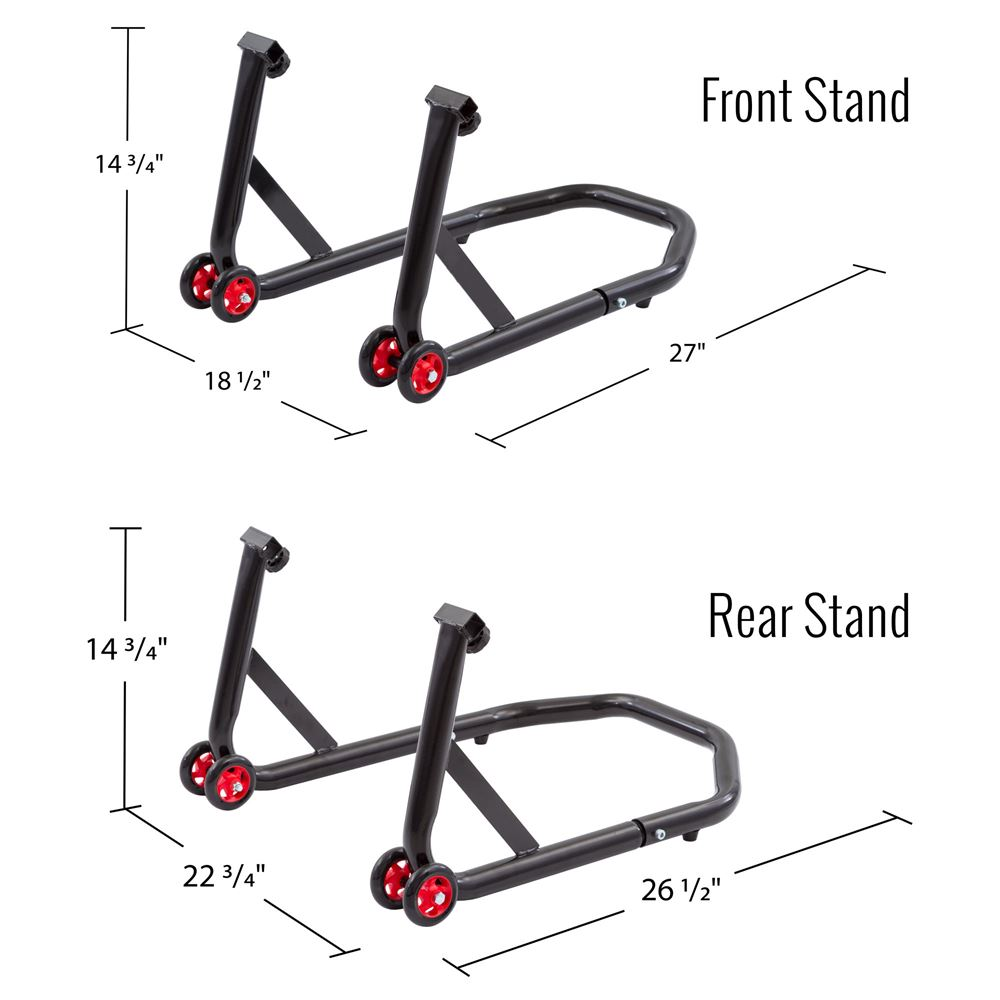 Black Widow Front Prong & Rear Swingarm Motorcycle Stand