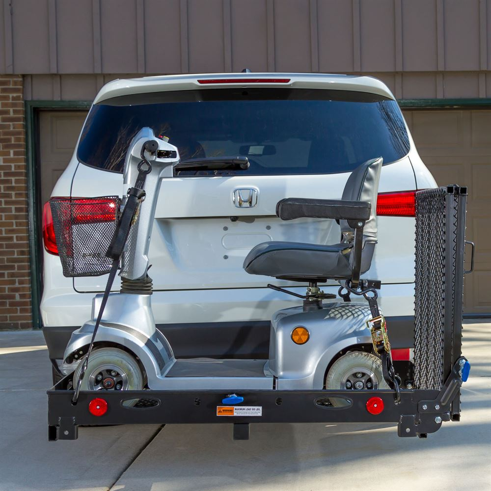 silver spring steel deluxe folding scooter and wheelchair carrier 59 1 8 loading ramp