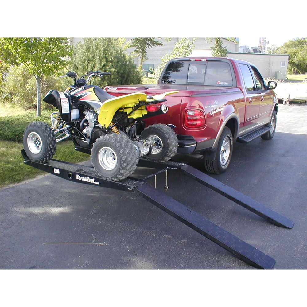 versahaul hitch mounted atv carrier with loading ramp