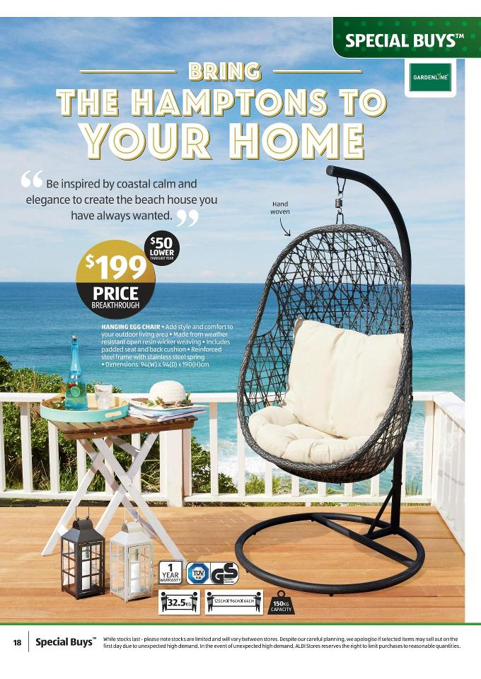 hanging chair aldi round sofa living room furniture catalogue november christmas deals page 18 gardenline egg