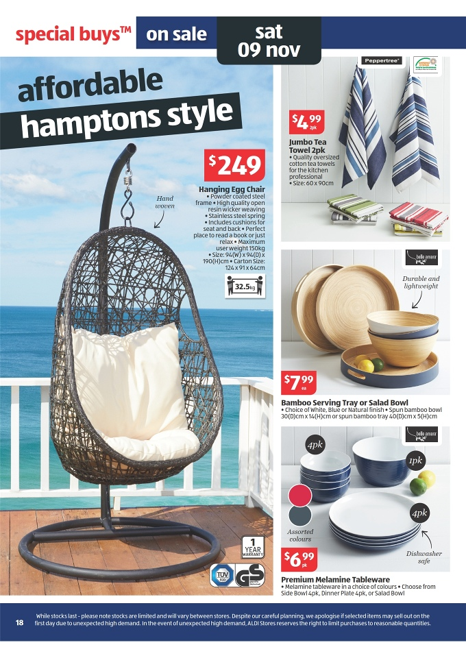 hanging chair aldi unusual dining catalogue special buys week 45 2013 page 18 peppertree jumbo tea towel 2pk egg