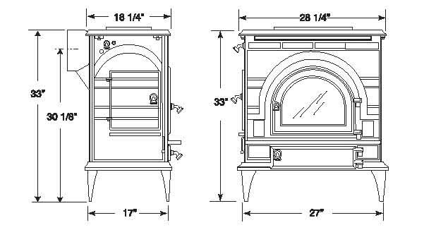 Vermont Castings Dutchwest 2462 XL cast iron wood stove
