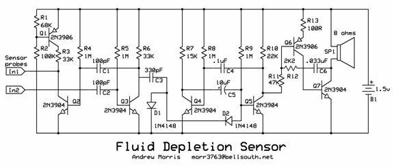 Fluid Depletion Sensor Circuit designed by Andrew R. Morris