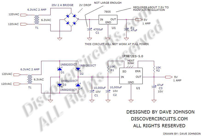Circuit: Classic Linear 5v Supply Using 6.3vac