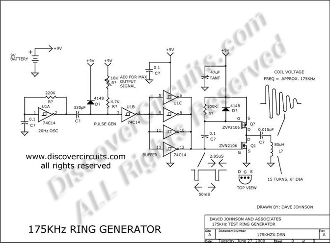 Circuit: 175KHz INDUCTIVE PULSE TRANSMITTER __ Circuit